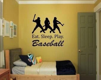 Eat. Sleep. Play. Baseball Wall Decal - Sports Decal, baseball decal, boys room decor, baseball theme room, baseball sticker