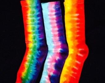 Tie Dye Crew Socks, Colorful, Rainbow