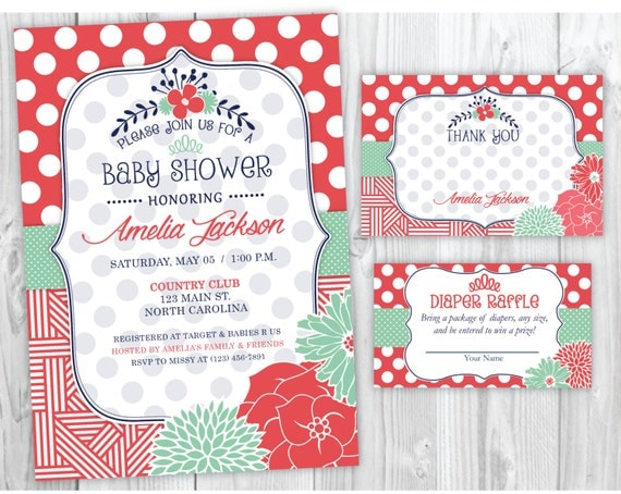 Spring Flower Baby Shower Invitation, Thank You Card and Diaper Raffle Ticket Printables, Chic Flower Baby Shower Invite
