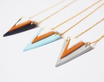 Triangle Necklace Pendant ( geometric necklace gold necklace black triangle minimalist jewelry minimalist necklace polymer clay pendant )