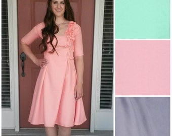 A-Line Summer Dress Midi with Pedal Embellishments/ Knee-Length Dress