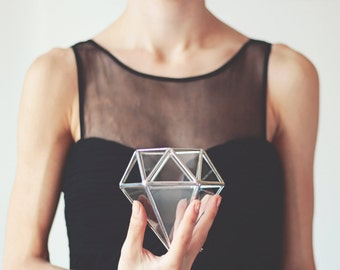 Wedding Ring Box, Geometric Glass Box, Engagement Ring Box, Diamond Terrarium, Ring Bearer Box, Ring Pillow Alternative, Silver Proposal Box