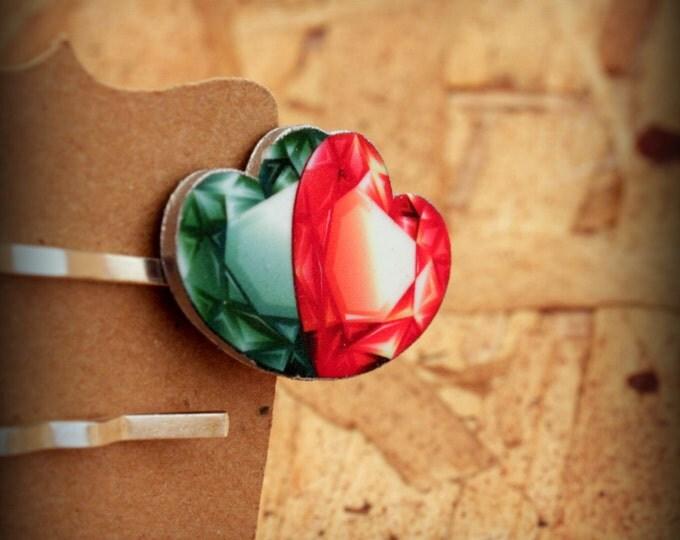 Gem hairpin - Heart hairpin - Red heart - Green heart - Hair clip - Bobby pin - Hair jewelry - Jewel hairpin - Shrink Plastic - Hearts