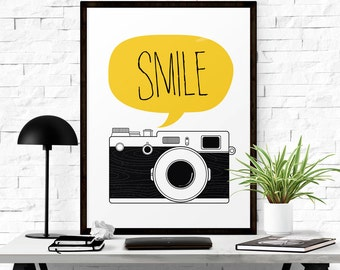 Smile Signs, Vintage Smile Print Camera Poster, Graphic Poster, Nursery Wall Art, Digital Download Art, Children Art, Wall Prints
