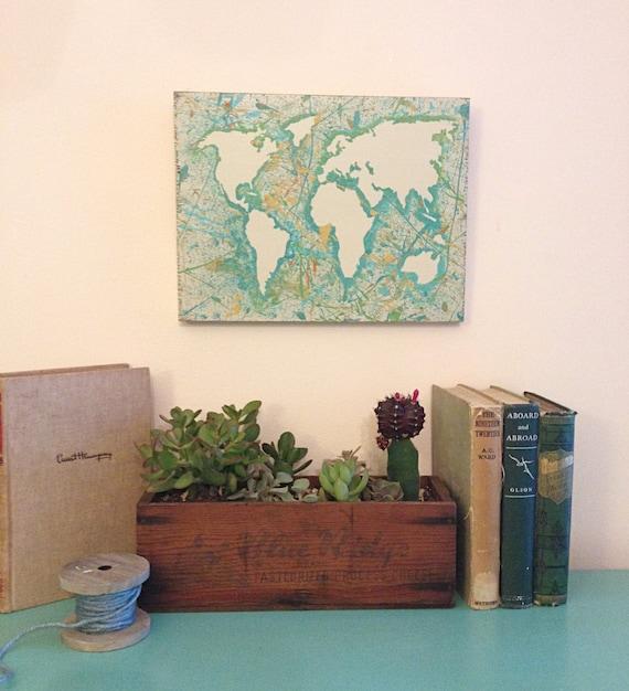 World Map Art Abstract Wooden Map Wall Decor Reclaimed