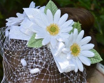 Garden Daisy Russian Bridal Veil - Spring Wedding - Ready to Ship