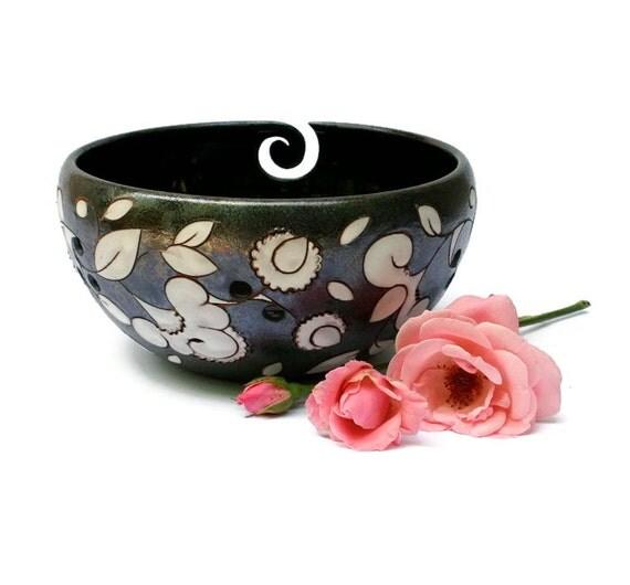 Yarn Holder Flowers, Yarn Bowl, Crochet Storage, Pottery Yarn Bowl ...