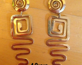 18mm golden angled long dangle plugs for stretched ears *vintage*