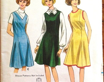 Butterick 4085 - 1960s A-Line Dress or Jumper with Princess Seams - Size 14