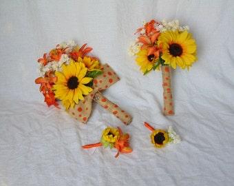 Fall Bouquet - Sunflower Bouquet - Fall Wedding - Fall Bouquet Set - Burlap Bouquet - Yellow Bouquet - Orange Bouquet - Bridal Bouquet
