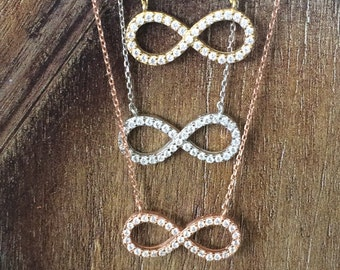 infinity necklace with sparkly cz zirconia, a real sterling silver beauty without the big price tag, safe to wet