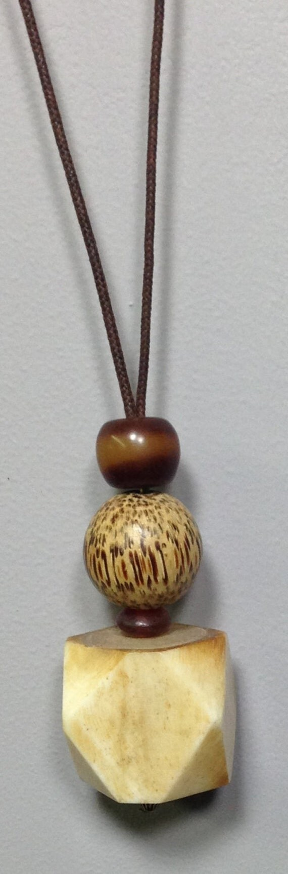 Cord Necklace Indonesian Bone Horn Philippine Wood Handmade Handcrafted Unique Statement Jewelry Fun