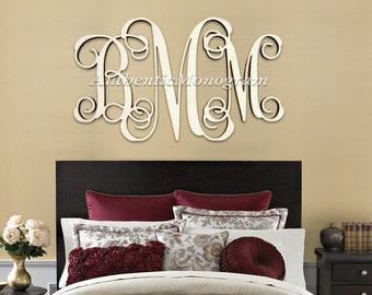 wooden monogram wall letters home decor wedding nursery extra large 36