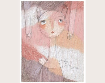 Art Print-Angel in Pink Fog-Pastel colors-Pink-Peach-White-Wall Art