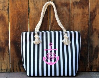 Items similar to Striped Beach Bag Tote Bag Diaper Bag BLUE WHITE ...