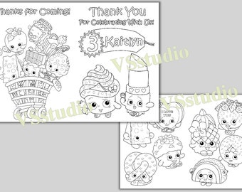 Shopkins Birthday Party Thank You Coloring Pages Activity Book PDF File