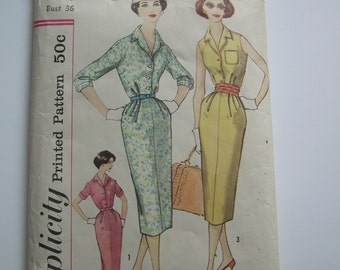 "1958 SIMPLICITY Pattern  #2504 ""SLENDERETTE"" dress with collar and softly pleated slim skirt. Old sz.16 Bust 36"