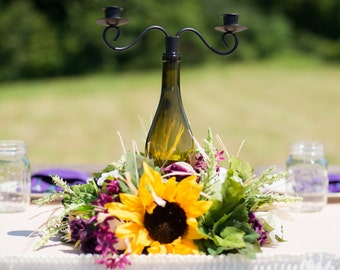Classic yet rustic wine bottle candleholder centerpiece