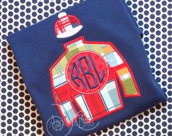 Monogram Horse Jockey Silk Applique Design - Horse Racing - Jockey - Derby - Monogram - Machine Embroidery