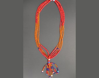 Old ethnic necklace from Ethiopia, made with venetian trade beads. Ethnic necklace from Ethiopia made with glass trade beads