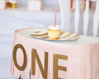ONE Birthday banner, Fringe Highchair banner