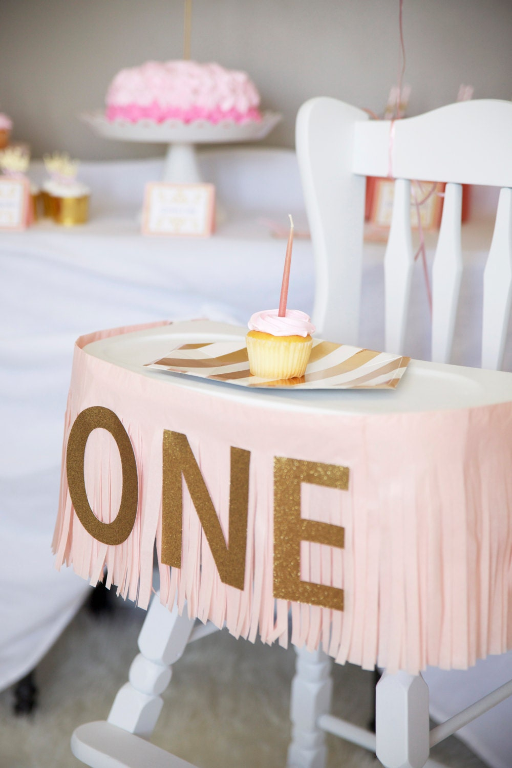 One birthday banner fringe highchair banner for 1 year birthday decoration