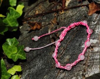 Valentine's Day | Rose Quartz Macrame Adjustable Friendship Bracelet, Pink Ombre, Semiprecious Stone, Bracelet or Anklet