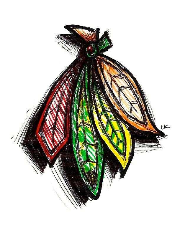 blackhawks feathers illustration 3 by lydiajaeartwork on etsy