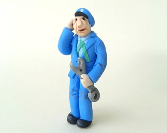 Model Railway Figure, Figurine for Model Railroad, Polymer Clay Figurine, Model Railroad Engineer, Workman with Spanner, Dollhouse Figure