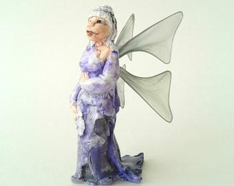 Miniature Fairy Figurine, Gothic Fantasy Art, Art Doll Ornament, OOAK Fairy Figure, Winter Fairy Sculpture, Woodland Pixie, Sprite Figure