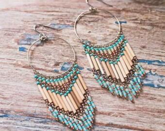 Turquoise Chandelier Earrings, Turquoise Beaded Earrings, Hoop Chandelier Earrings, Bohemian Jewelry, Boho Earrings, Western Style Earrings