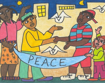 Work for Peace colored pencil framed drawing