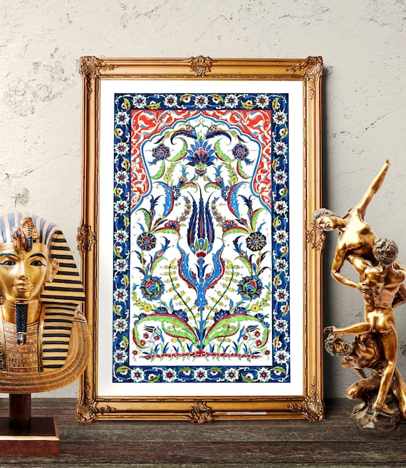 Traditional Ottoman Tulip Watercolor Wall Art Turkish Floral