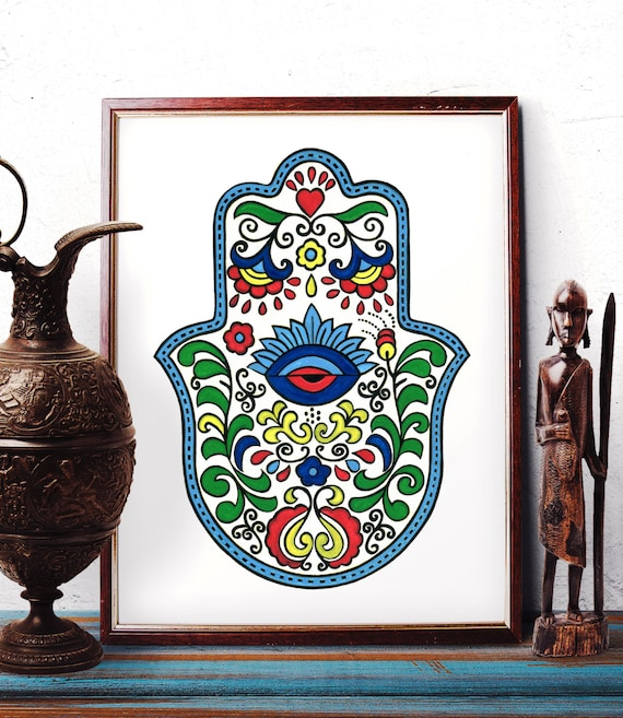 traditional armenian hamsa wall art with eye design watercolor