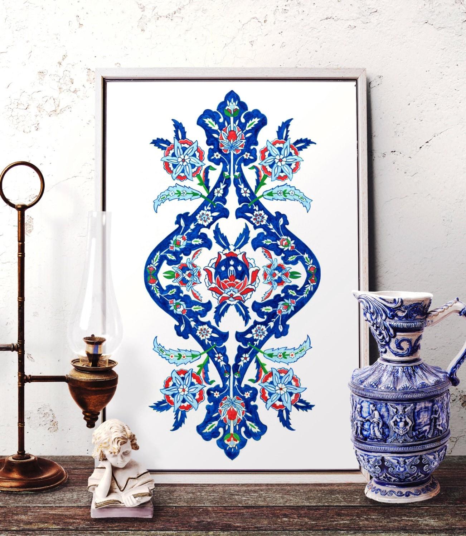 Traditional Ottoman Tulip Watercolor Wall Art Turkish Floral: Ottoman Floral Motif Watercolor Painting Traditional Turkish