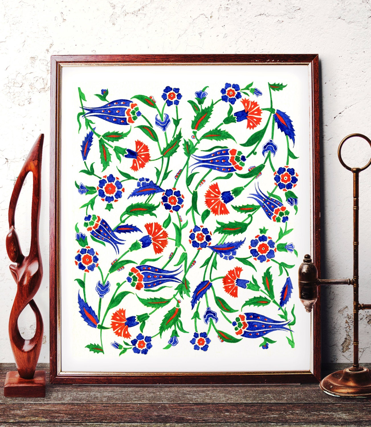 Traditional Ottoman Tulip Watercolor Wall Art Turkish Floral: Traditional Ottoman Motif Watercolor Wall Art Blue Tulip And