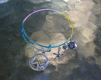 Mermaid Charm Adjustable Rainbow Bracelet