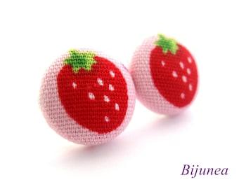 Strawberry earrings studs - Fruit Strawberry posts - Strawberry studs - Strawberry fruit earrings - Fruit jewelry sf769