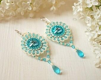 "Bead woven earrings ""Lagoon"". Beadwoven earrings with Swarovski crystals. Beaded earrings. Bead weaving, beadwork"