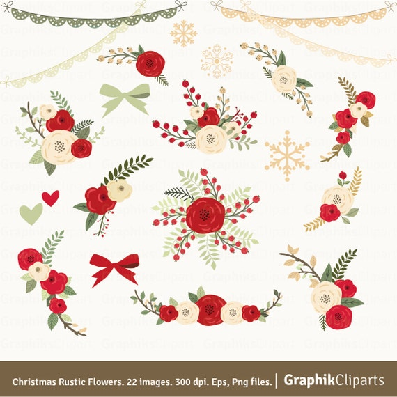christmas rustic flowers clipart. floral clipart. floral bouquet, Beautiful flower