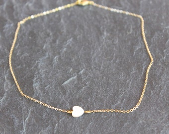 Gold tiny chain necklace white nacar heart, gold plated necklace