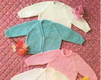 baby cardigans baby sweaters pattern panel newborn 16-20 inch DK / QK baby knitting pattern for babies pdf instant download