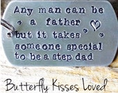 Hand Stamped Aluminum Custom Step Dad Keyring - Necklace - Personalized - Fathers Day - Bonus Dad