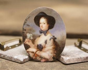 Madame de Pompadour Brooch - Pin - Art jewelry - Historic designs - 18th century - Blue - Romantic jewelry - Statement jewelry