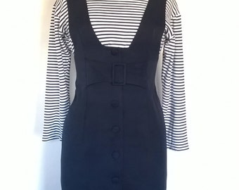 Vintage 1960's Astor West Germany Two-Piece Navy Blue Button-Up Dress Stripy Top