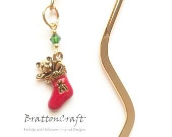 Christmas Stocking Bookmark - Christmas Bookmark - Stocking Bookmark - Christmas Jewelry - Holiday Bookmark - Holiday Jewelry - Epsteam