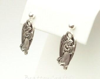 Silver Angel Earrings - Christmas Earrings - Christmas Jewelry - Holiday Jewelry - Holiday Earrings - Religious Jewelry