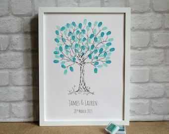 Wedding Fingerprint Tree, UNFRAMED Personalised, Guestbook