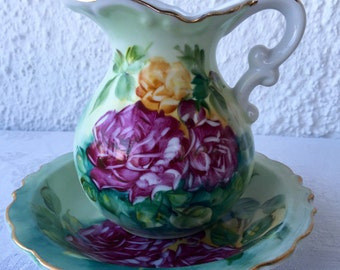 Lefton china vintage hand painted floral pitcher and bowl 1960s - 1980s