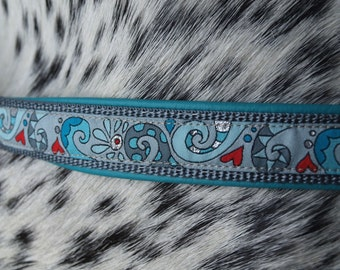 Dog Collar *SWIRLS*- padded with leather